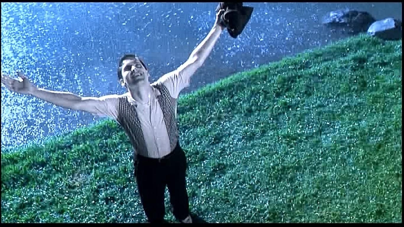 雨を知らないプレザントヴィルの人々(雨が降ったのは初めて)に雨が安全なことを証明しようとするデイビッド